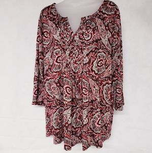 😍 Talbots Paisley Red Blouse